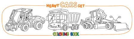 Log handler, bulldozer and dump truck. Small funny vector cute cars with eyes and mouth. Coloring book set for kids. Children vector illustration. Construction machinery.