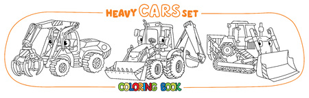 Log handler, bulldozer and tractor. Small funny vector cute cars with eyes and mouth. Coloring book set for kids. Children vector illustration. Construction machinery.