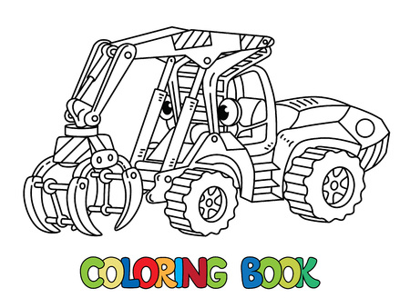 Funny log handler car or truck. Small funny vector cute vehicle with eyes. Children vector illustration. Forestry machinery for kids. Coloring book