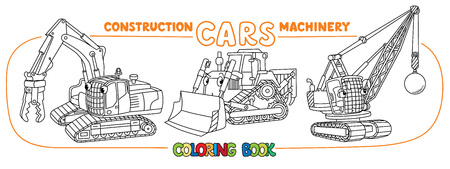 Destructing excavator, grader and wrecing ball truck coloring book set for kids. Small funny vector cute cars with eyes and mouth. Children vector illustration