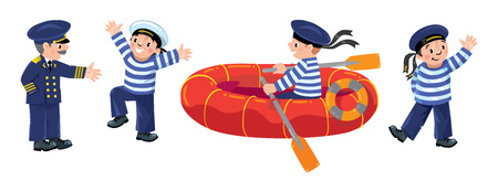 Funny jolly boy-sailors in vest and sailor hat with captain and boat. Children vector illustration set Illustration