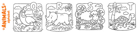 Coloring book or coloring picture of funny quail, rhino, sheep and turtle. Animals zoo alphabet or ABC. Ilustração