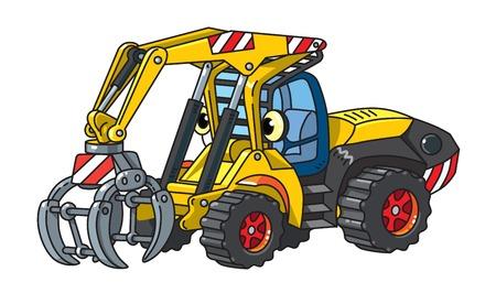 Funny log handler car or truck with eyes Illustration