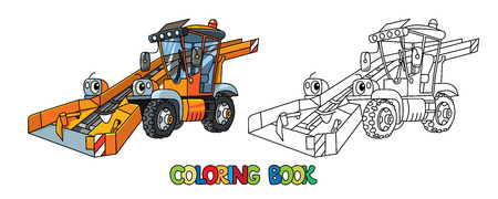 Snowthrower. Coloring book. Small funny vector cute car with eyes and mouth. Children vector illustration. Municipal machinery for kids