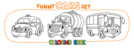 Funny taxi, milk truck and bus. Small funny vector cute vehicles with eyes and mouth. Children vector illustration. Municipal cars machinery for kids Stock Illustratie