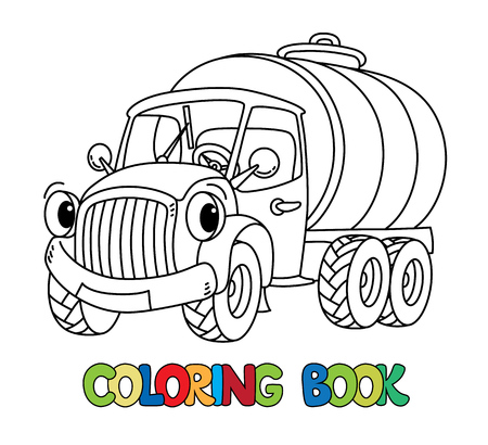Small funny milk truck or tanker or lorry coloring book for kids. Small funny vector cute car with eyes and mouth. Children vector illustration