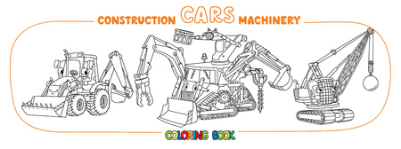 Bulldozer or fantasy multitool truck, wrecking ball truck and construction tractor. Coloring book set for kids. Small funny vector cute car with eyes and mouth. Children vector illustration.