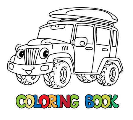 Offroader or SUV coloring book for kids. Small funny vector cute car car with eyes and mouth. Children vector illustration