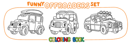 Buggy, offroader or SUV, and pickup truck coloring book set for kids. Small funny vector cute car car with eyes and mouth. Children vector illustration