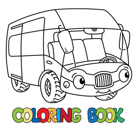 Funny bus or van with eyes. Coloring book Foto de archivo - 117282914