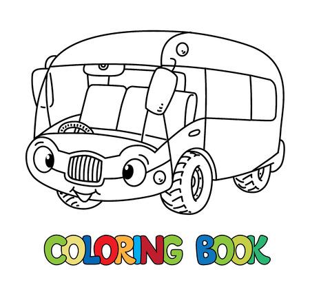 Funny bus or van with eyes. Coloring book Foto de archivo - 117282915
