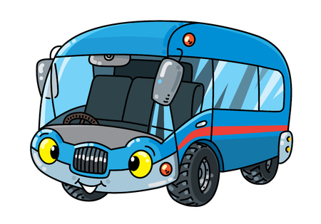 Van or small bus. Funny vector cute car with eyes and mouth. Children vector illustration. Wagon Foto de archivo - 126684629