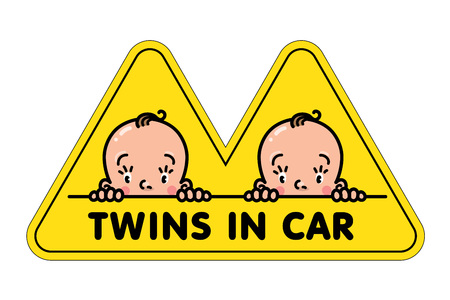 Twins in car sticker. Fases of baby boys and logo