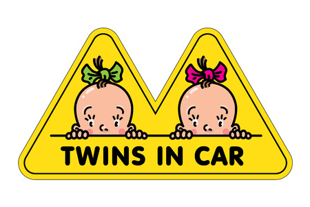 Twins in car sticker. Fases of baby girls and logo