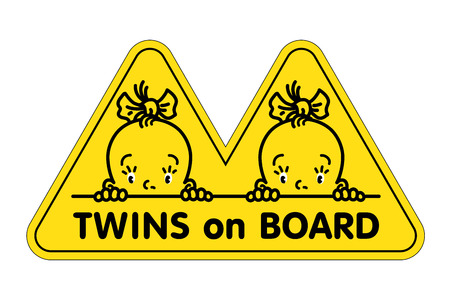 Twins in car sticker. Fases of baby girls and logo Illustration