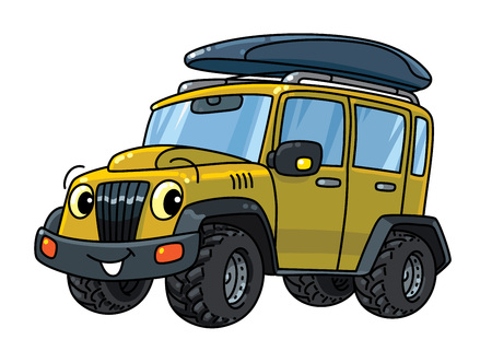 Offroader or SUV. Small funny vector cute car car with eyes and mouth. Children vector illustration