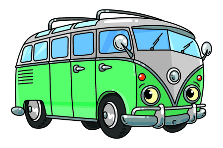 Vintage retro bus or van. Small funny vector cute car with eyes and mouth. Children vector illustration. Wagon Foto de archivo - 125968016