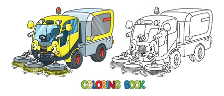 Funny small sweeper car with eyes coloring book