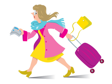Tardy passenger. Vector illustration of funny fast-paced woman with suitcase, bag and tickets in coat and scarf, who late and missed the flight