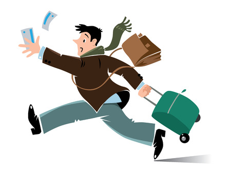 Tardy passenger. Vector illustration of funny running man with suitcase, bag and tickets ain coat and scarf, who late and missed the flight 일러스트