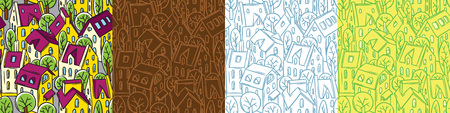 City seamless pattern set with roofs and trees