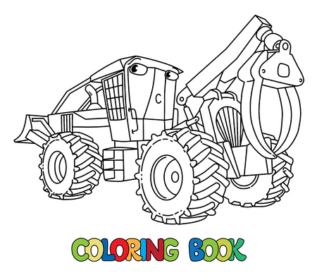 Funny log skidder car or truck. Small funny vector cute vehicle with eyes. Children vector illustration. Forestry machinery for kids. Coloring book
