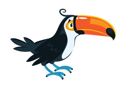 Tucán. Ilustración de vector de niños de pájaro divertido con un gran pico naranja y plumaje negro