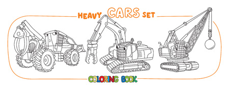 Heavy cars with eyes. Coloring book set