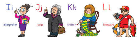 Profession ABC series. Set of funny interpreter, teacher, judge and lifeguard. Children vector illustration. Alphabet