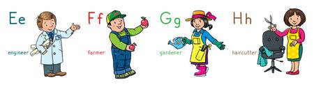 ABC professions set. Engineer, farmer, gardener, hairdresser Vektorové ilustrace
