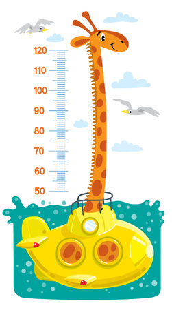 Cheerful funny giraffe in a submarine in the sea or ocean, surrounded by seagulls and clouds. Height chart or meter wall or wall sticker. Children vector illustration with scale from 50 to 120 centimeter to measure growth