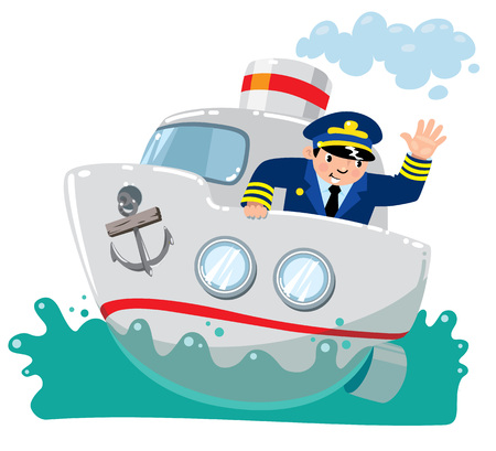 Funny captain on boat in the sea