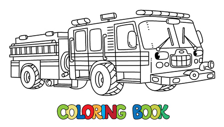 Fire truck or machine coloring book for kids. Small funny vector cute car with eyes and mouth. Children vector illustration. Fire engine Vectores