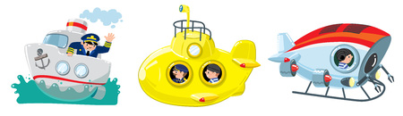Two funny researchers at the submarine in the sea, sailor at the bathyscaphe, captain on the boat or ship. Children vector illustration set Stock Illustratie