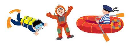 Funny deep sea diver in diving heavy scuba gear, sailor in boat and scuba diver. Children vector illustration set