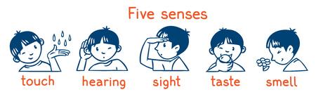 Five senses monochrome icon set. Boys illustration