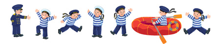 Funny jolly boy-sailors in vests and sailor hats with captain. Vector Illustration set