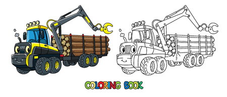 Funny harvester car with eyes coloring book Illustration