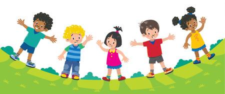 Five kids illustration set with background. Summer