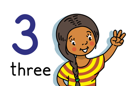 Card 3. Indian girl in dress. Kid s hand showing the number three hand sign. Childrens vector illustration for counting education cards from 1 to 10.