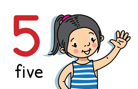 Fille montrant cinq à la main. Compter la carte d'éducation Vecteurs