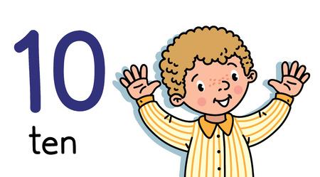 Niño mostrando diez a mano contando la tarjeta de educación 10