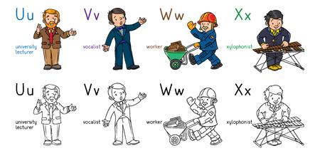 ABC professions coloring book set English alphabet