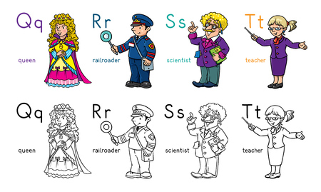 Coloring book set of funny queen, railroader, scientist and teacher. Profession ABC series. Children vector illustration. Alphabet Vectores