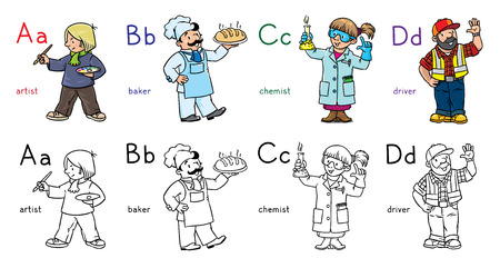 Coloring book set of funny artist, baker, chemist and driver. Profession ABC series. Children vector illustration. Alphabet