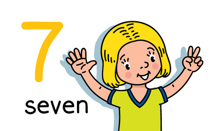 Card 7. Girl in t-shirt. Kid s hands showing the number seven hand sign. Childrens vector illustration for counting education cards from 1 to 10.