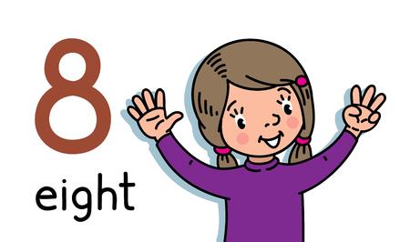 Tarjeta 8. Niña en suéter. Manos de niño mostrando el signo de la mano número ocho. Ilustración de vector de niños para contar tarjetas de educación del 1 al 10.