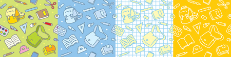 School seamless pattern set The education supplies Ilustração