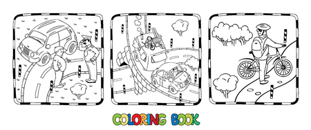 Coloring book set of roads with cars Illustration