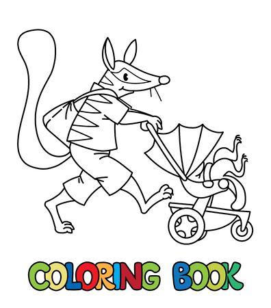 Numbat nanny ABC coloring book. Alphabet N